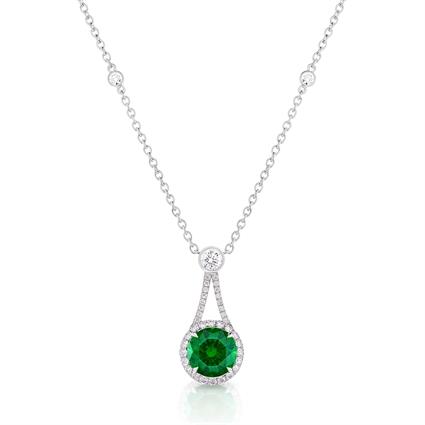 Demantoid Garnet Pendant - Fabergé Demantoid Garnet Drop Halo Pendant