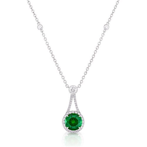 Demantoid Garnet Drop Halo Pendant