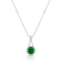 Demantoid Garnet Pendant - Fabergé Demantoid Garnet Drop Halo Pendant