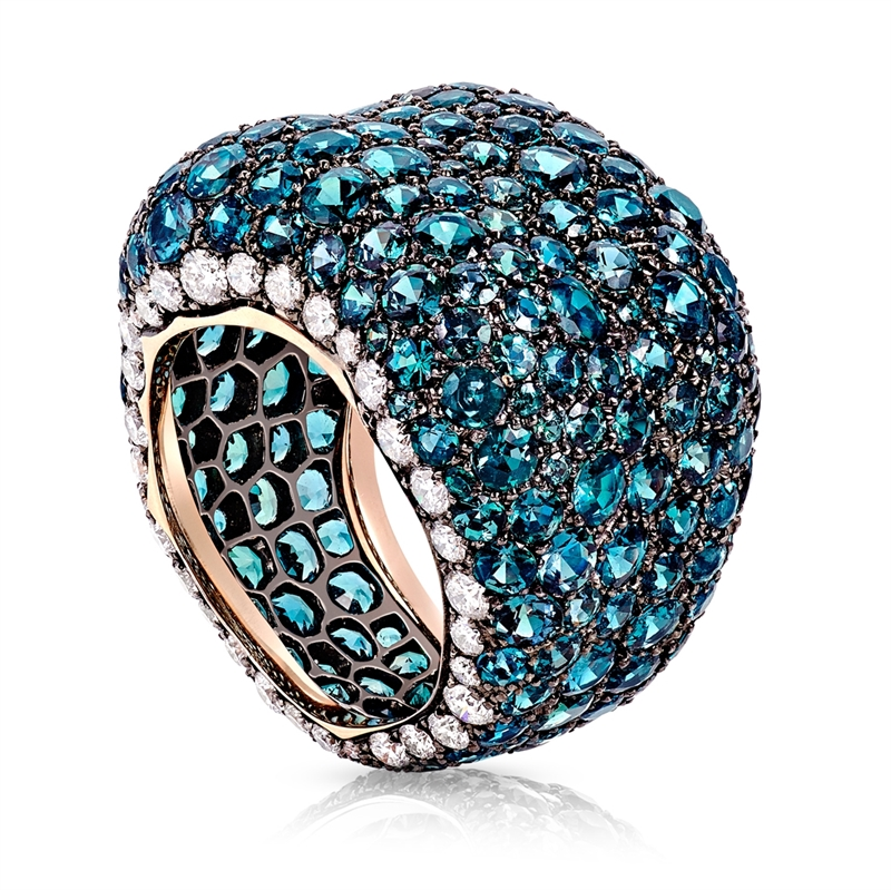 Rose Gold Black Rhodium Diamond & Alexandrite Grand Ring | Fabergé