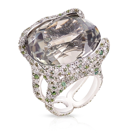 White Gold 51.09ct Tourmaline Ring With Diamonds & Green Sapphires | Fabergé