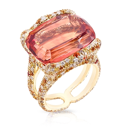 Yellow Gold 21.17ct Topaz Ring With Diamonds & Coloured Gemstones   Fabergé