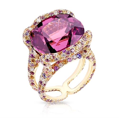 Katharina 18K Yellow Gold 18.81ct Spinel Ring With Diamonds, Amethysts & Sapphires