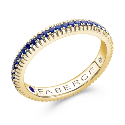 blue sapphire yellow gold ring faberge