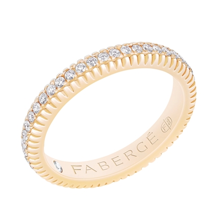 Fabergé Diamond Yellow Gold Fluted Band
