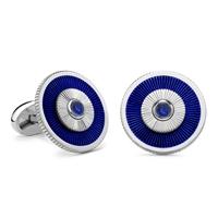 Sapphire and White Gold Cufflinks - Fabergé Sapphire Blue Enamel Cufflinks