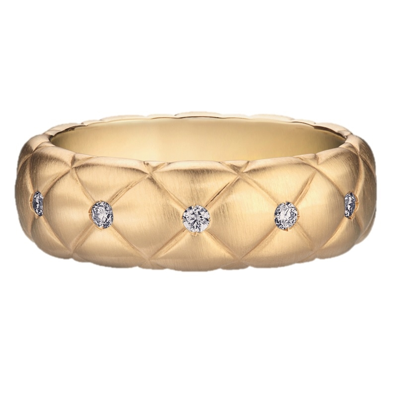 Brushed Yellow Gold Diamond Ring | Fabergé