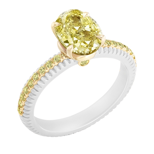 Platinum & Yellow Gold Oval Cut Yellow Diamond Fluted Ring With Yellow Diamond Shoulders | Fabergé