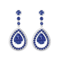 Blue Sapphire Drop Earrings - Fabergé Blue Sapphire Pavé Drop Earrings