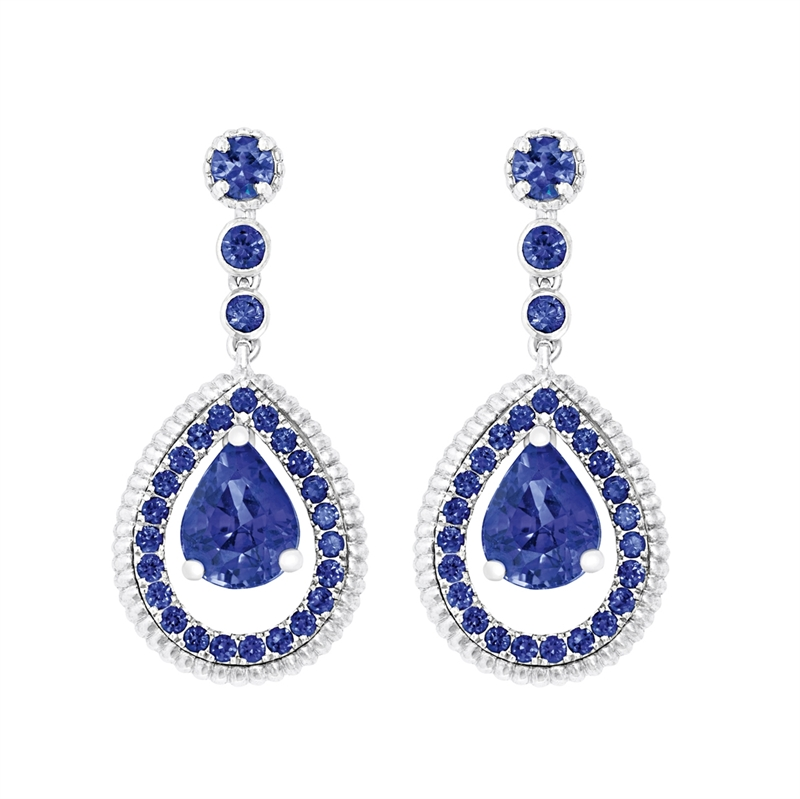 Blue Sapphire Drop Earrings - Fabergé Blue Sapphire Pavé Drop Earrings