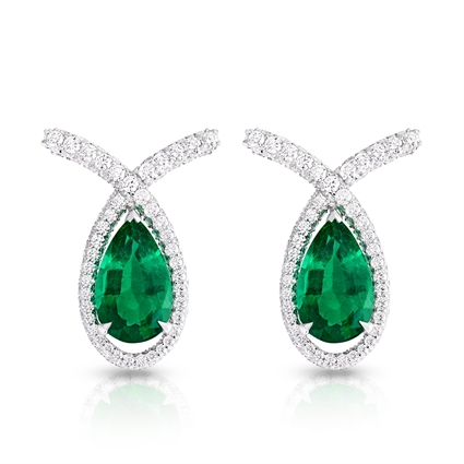 White Gold Pear Cut Emerald & Diamond Earrings | Fabergé