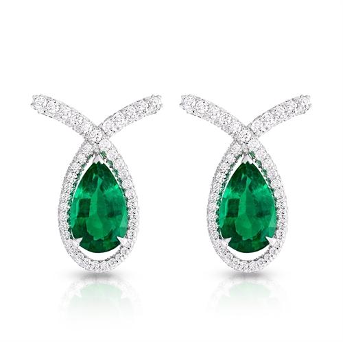 Cotillon 18K White Gold Diamond & Emerald Pear Shaped Earrings