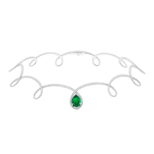 White Gold Pear Cut Emerald & Diamond Necklace | Fabergé