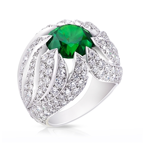 Demantoid Garnet White Fire Ring