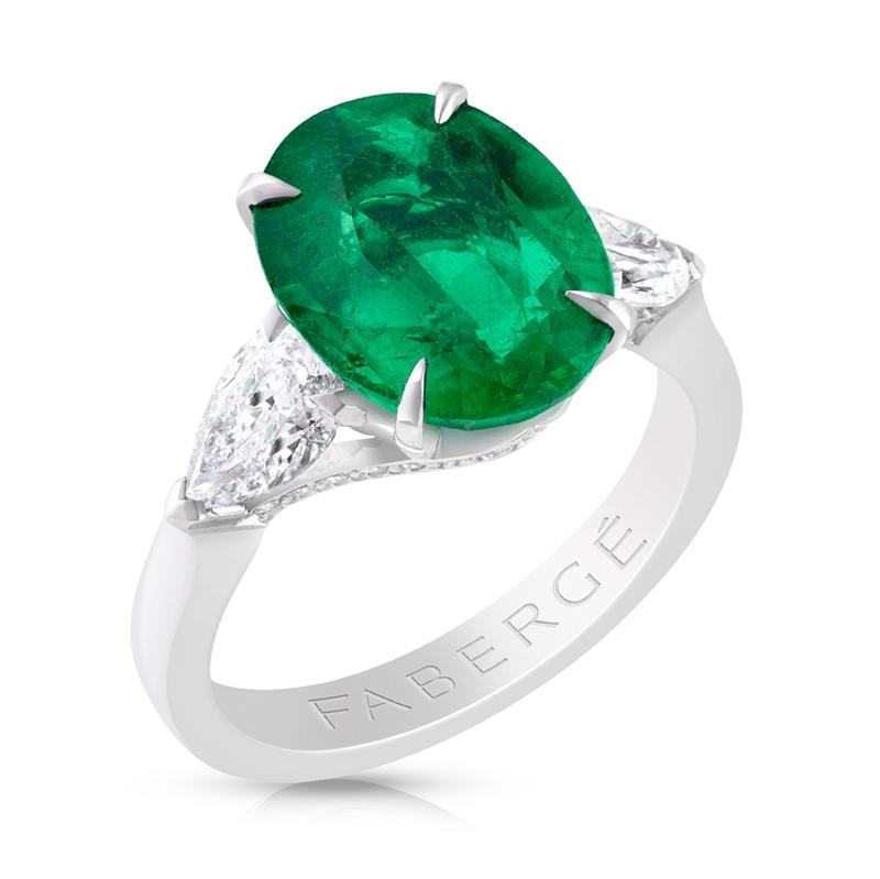 Platinum, White Diamond and Emerald Oval Ring | Fabergé