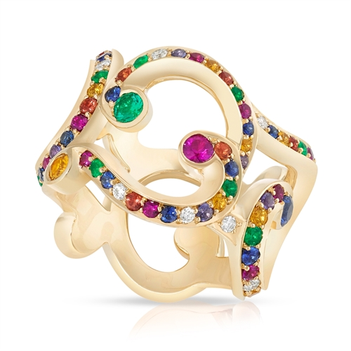 Rococo 18K Polished Yellow Gold Wide Diamond & Multicolour Gemstone Ring