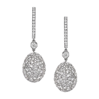 White Diamond & White Gold Fabergé Egg Earrings