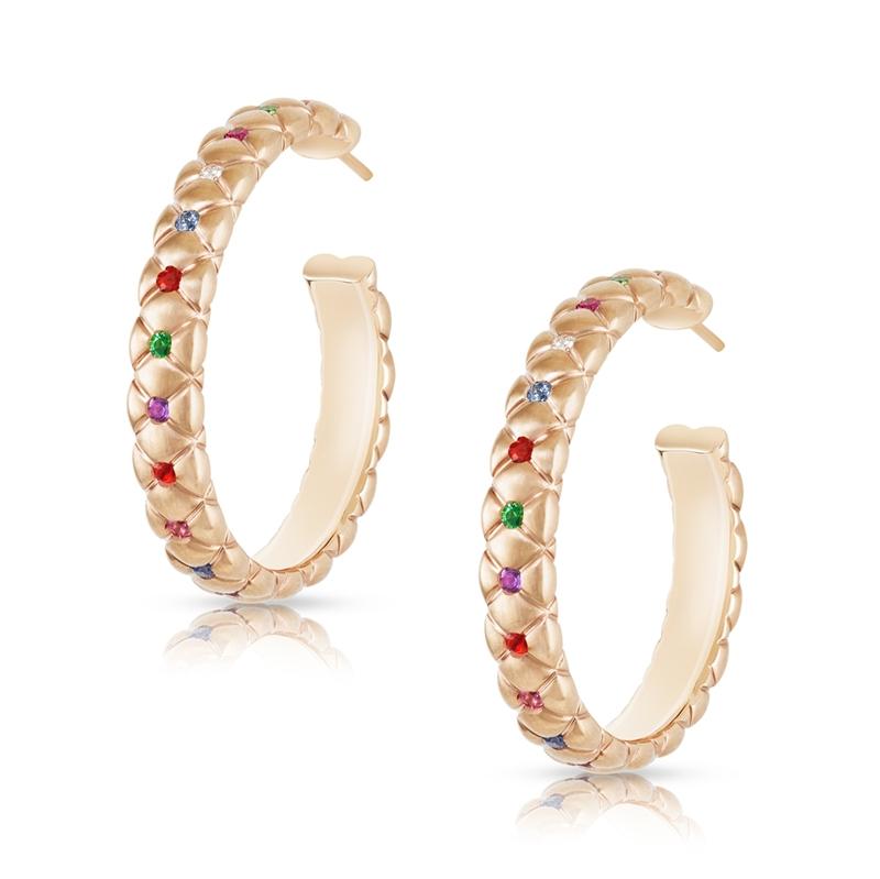 Rose Gold and Gemstone Hoop Earrings - Fabergé Treillage Multi-Coloured Rose Gold Hoop Earrings