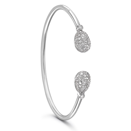 White Gold and Diamond Bangle Bracelet - Fabergé Emotion Diamond Open-Set Bangle