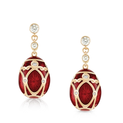 Rose Gold Diamond & Red Guilloché Enamel Egg Drop Earrings | Fabergé