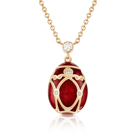 Rose Gold Diamond & Red Guilloché Enamel Petite Egg Pendant | Fabergé
