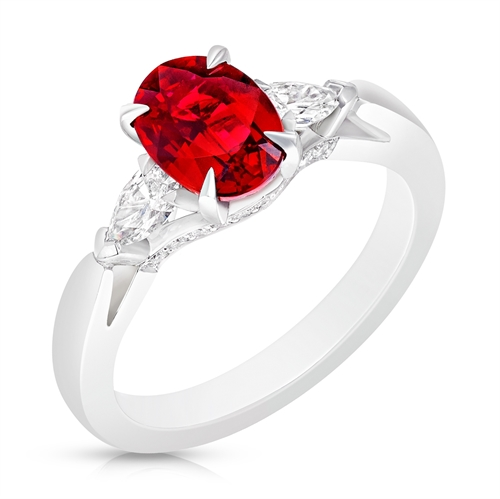 Platinum Oval Ruby Ring Set With Pear Shaped Diamonds
