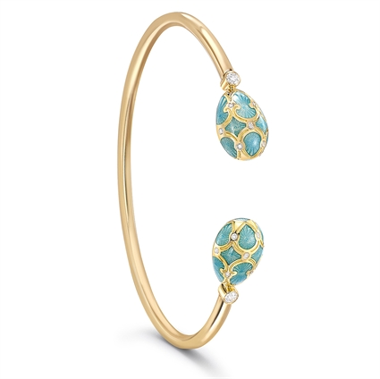 Yellow Gold Diamond & Turquoise Guilloché Enamel Open Bracelet | Fabergé