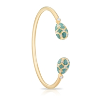 Yellow Gold and Enamel Bangle - Fabergé Palais Tsarskoye Selo Turquoise Open-Set Bangle