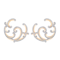 Rose Gold and Diamond Hoop Earrings - Fabergé Rococo Pavé Diamond Rose Gold Hoop Earrings