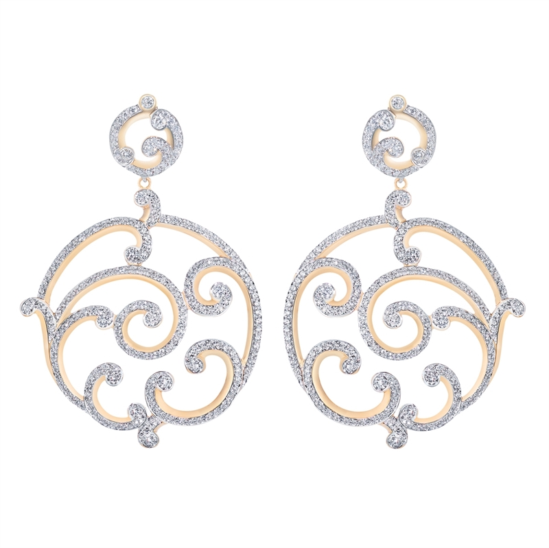Diamond and Rose Gold Earrings - Fabergé Rococo Pavé Diamond Rose Gold Grand Earrings