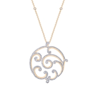 Rose Gold and Diamond Pendant Necklace - Fabergé Rococo Pavé Diamond Rose Gold Grand Pendant