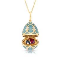 Fabergé Egg Locket Pendant - Palais Tsarskoye Selo Turquoise Ladybird Locket