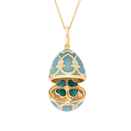Yellow Gold Diamond & Turquoise Guilloché Enamel Clover Surprise Locket | Fabergé