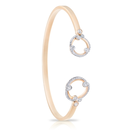 Rose Gold and Diamond Bangle - Fabergé Rococo Pavé Diamond Rose Gold Bangle