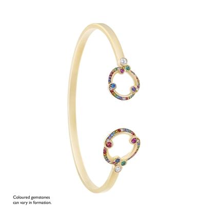 Yellow Gold, Sapphire, Emerald & Diamond Bangle | Fabergé