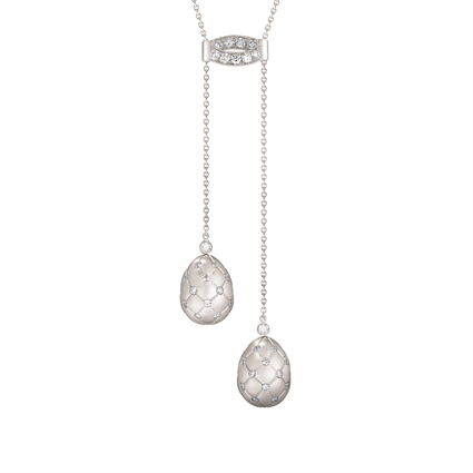 Brushed White Gold Diamond Double Egg Pendant | Fabergé