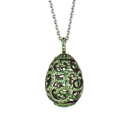 Fabergé Imperial Impératrice White Gold Tsavorite Garnet Egg Pendant I Fabergé