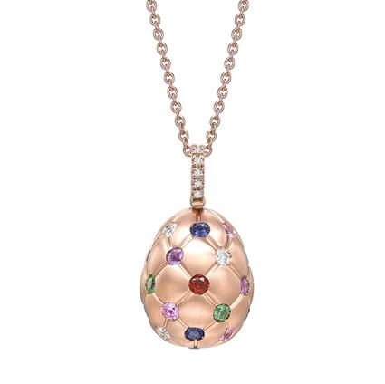 Brushed Rose Gold & Multicoloured Gemstone Set Egg Pendant I Fabergé