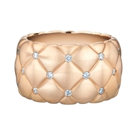 Faberge Rings - Treillage Diamond Rose Gold Matt Wide Ring