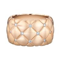 Matt Rose Gold & White Diamond Wide Ring | Fabergé