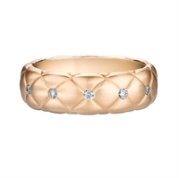 Faberge Rings - Treillage Diamond Rose Gold Matt Thin Ring