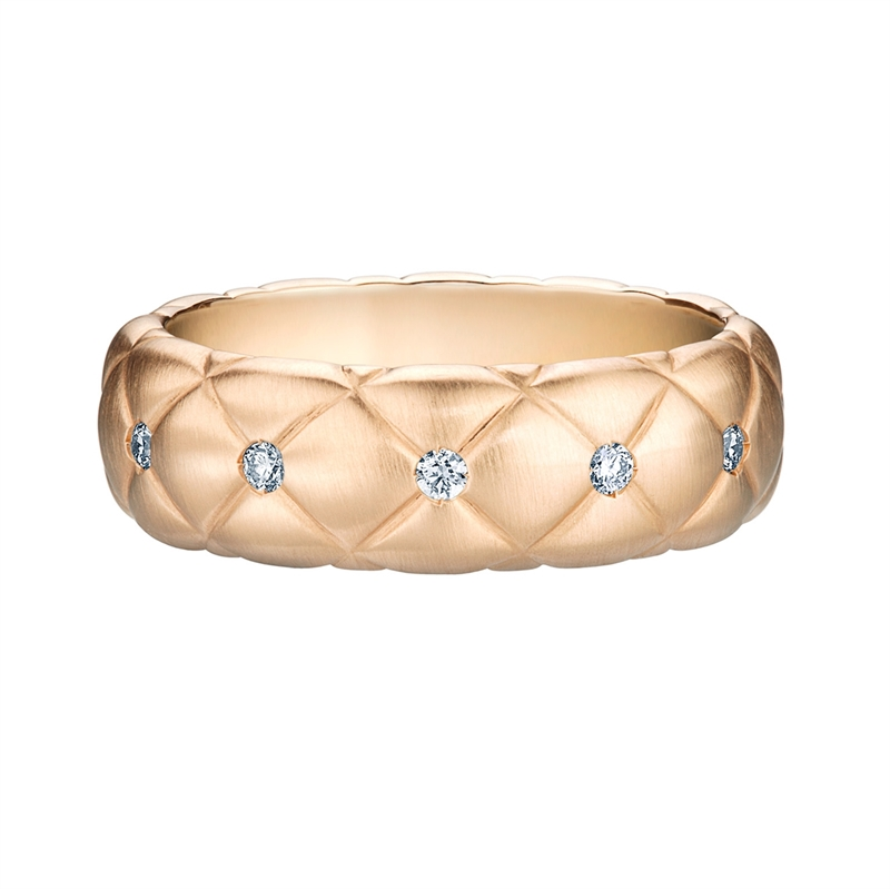 Faberge Rings - Treillage Diamond Rose Gold Matt Thin Ring