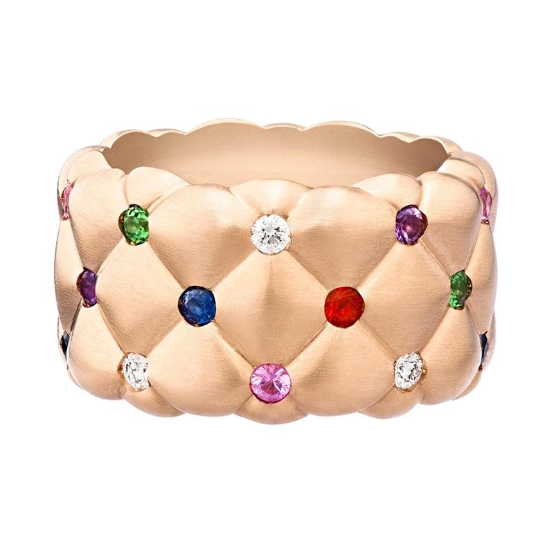 Rose Gold Wide Ring – Treillage Multi-Coloured Rose Gold Matt Ring