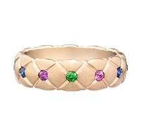 Treillage Multi-coloured Rose Gold Matt Thin Ring
