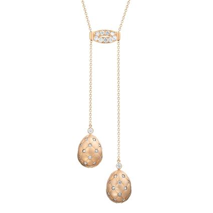 Fabergé Necklace - Treillage Diamond Rose Gold Matt Necklace