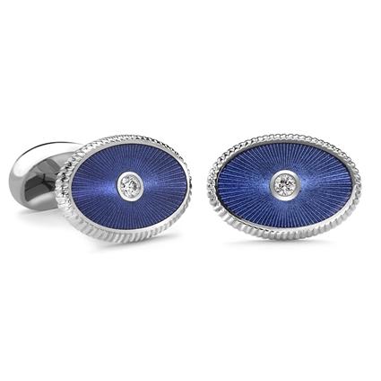 White Gold Blue Guilloché Enamel Oval Cufflinks | Fabergé
