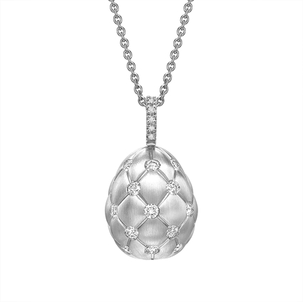 Brushed White Gold & Diamond Set Egg Pendant I Fabergé