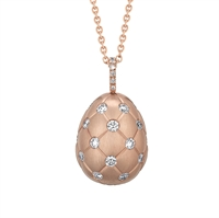 Faberge Egg Pendant - Treillage Diamond Rose Gold Matt Pendant