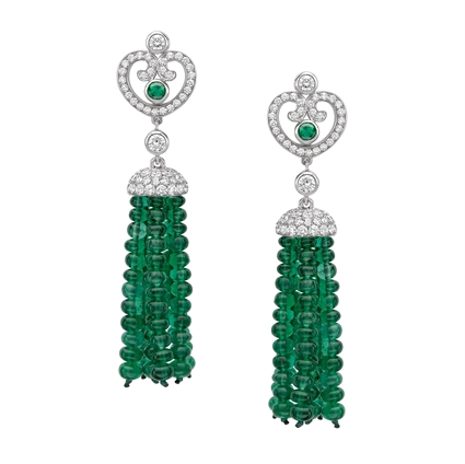 White Diamond & Green Emerald Bead Earrings | Fabergé