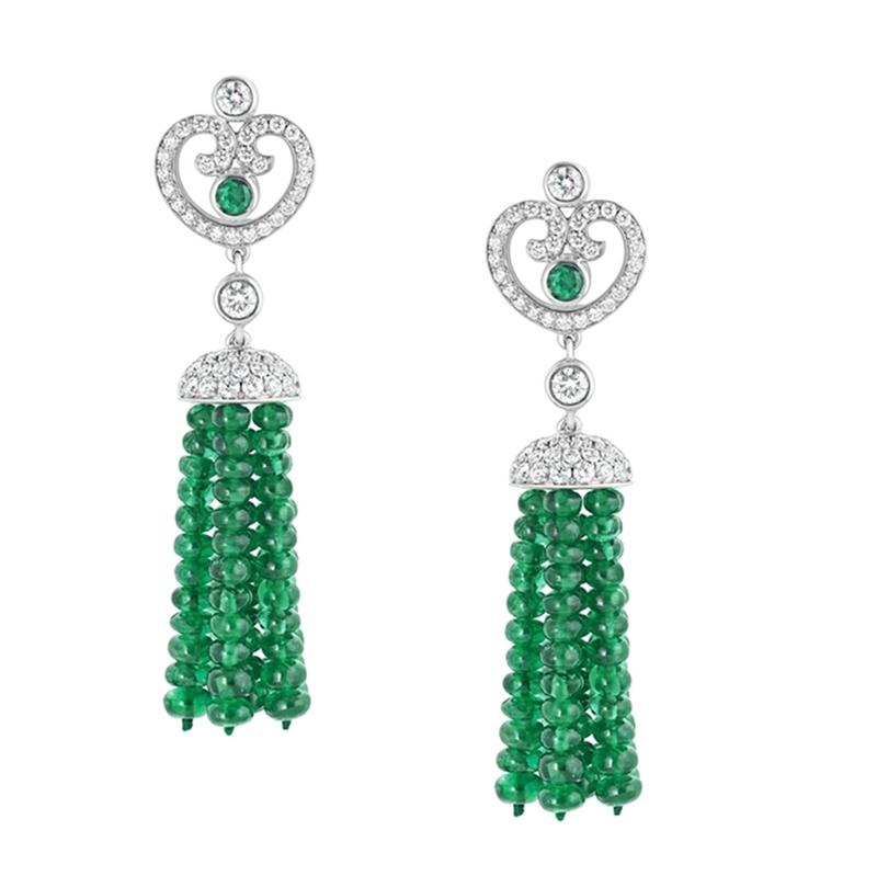 Emerald and Diamond Earrings - Fabergé Impératrice Emerald Tassel Earrings